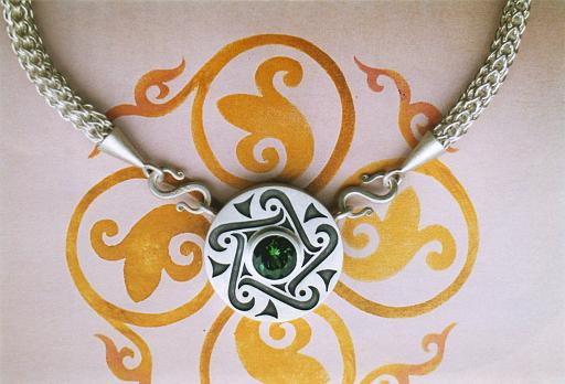 Celtic necklace with hand-made chain