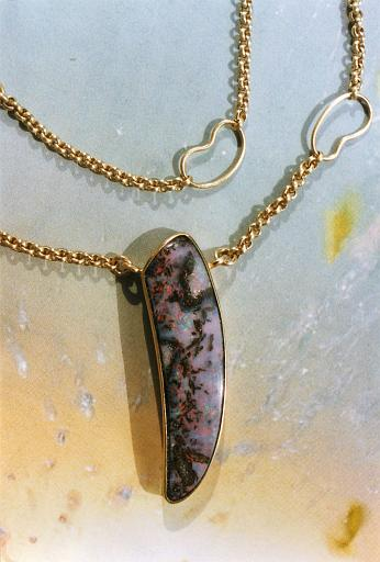 Opal necklace with gold chain