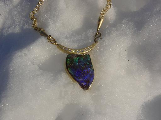Opal necklace with hand-made chain