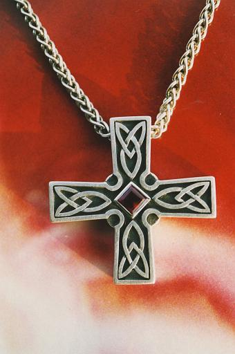 Silver cross with rubellite